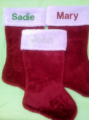 Embroidered Personalized Monogramed Red White Plush Christmas