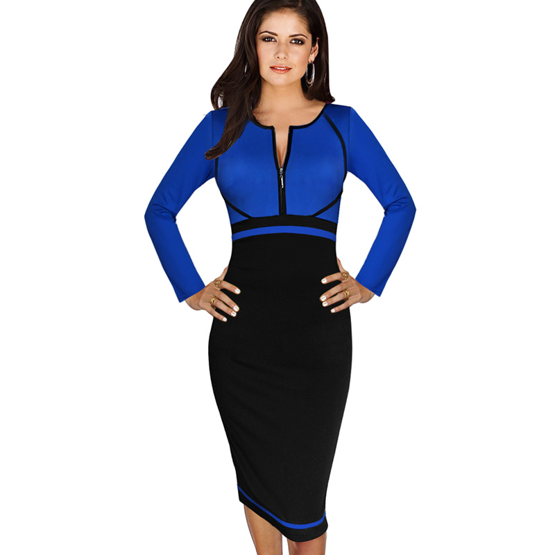 4c2df21ae1b VfEmage Womens Elegant Colorblock Front Zipper Wear to Work Business Casual  Office Party Sheath Pencil Bodycon Dress 1150