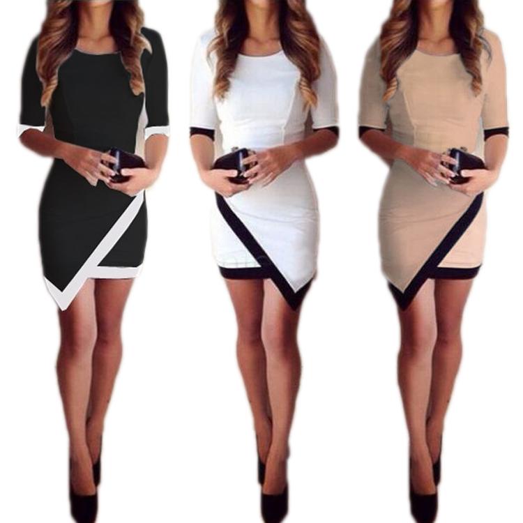 Women Asymmetric Bandage Dresses Summer Autumn Casual Office O-neck ... 2740f1ee4